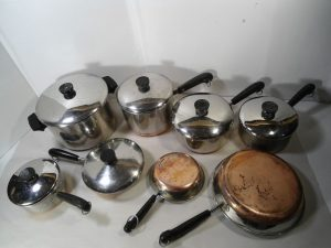 Revere Ware Copper Bottom Pots and Pans