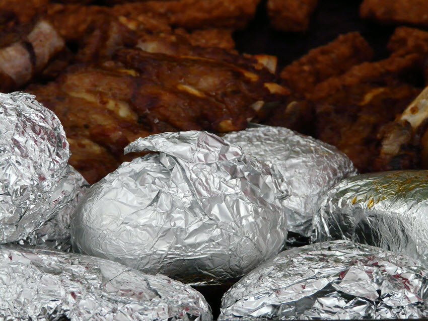 Food Wrapped in Tin Foil